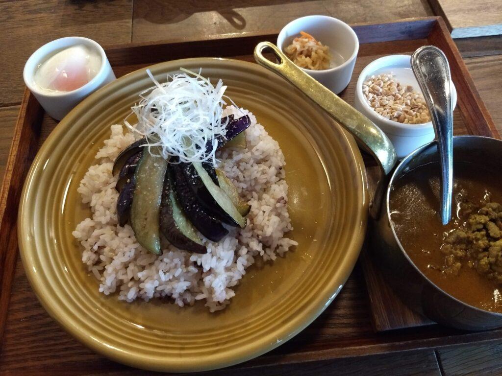 粗挽き肉と揚げ茄子のカレー~温泉卵添え~ 画像