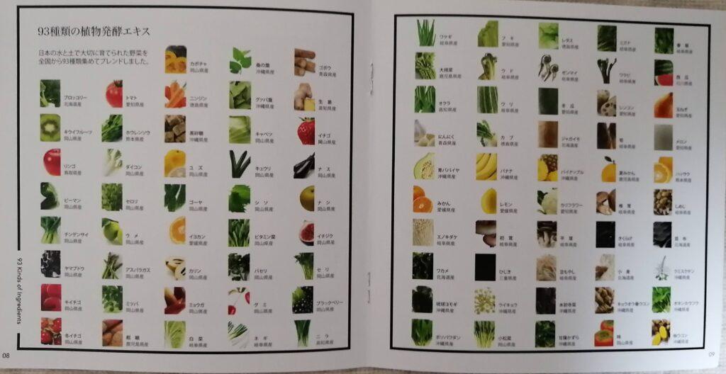 93種類の植物発酵エキス 一覧